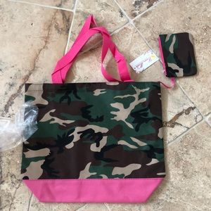 Brand New with tags camo and pink tote canvas